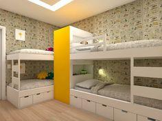 Beliche: 70 modelos perfeitos para quartos charmosos e funcionais Small Room Bedroom, Teen Bedroom, Bedroom Decor, Perfect Model, Hostel, Home Organization, Baby Quilts, Bunk Beds, Kids Room
