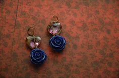 Blue Rose Earrings Cobalt Blue Earrings Purple by AmbientAtelier