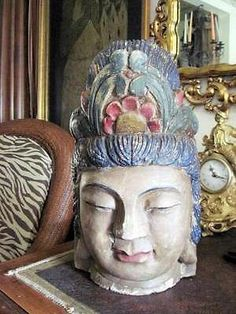 Carved Wood And Painted Buddha Head Sculpture