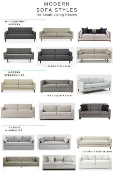 Small Home Style: Sofa Shopping 101 Modern Sofas Small Living Rooms.png - Add Modern To Your Life Sofa Set Designs, Modern Sofa Designs, Living Room Sofa Design, Living Room Designs, Sofa For Living Room, Modern Living Room Design, Modern Couch, Style At Home, Sofa Colors