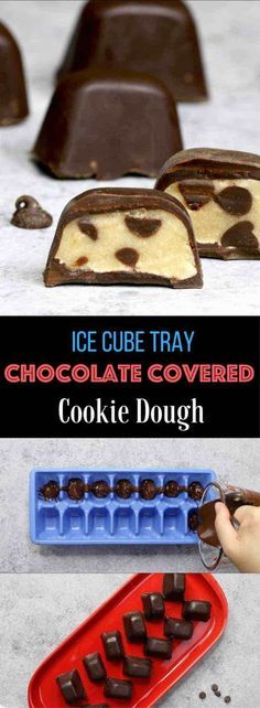 Eggless Edible Cookie Dough covered with Chocolate – An easy and delicious snack or treats that everyone will love. The ice cube tray makes it so easy and fun to make! All you need is a few simple recipes: chocolate, flour, brown sugar, chocolate chips, vanilla, butter and salt. An easy recipe that makes a great finger food dessert for parties, brunch, or as an afternoon snack! Homemade gifts. Party food, no bake, party dessert recipes. Video recipe.