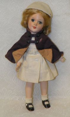 """14"""" All Hard Plastic Strung Mary Hoyer Type Nurse Doll Red Cross Pin on Hat OLD!"""