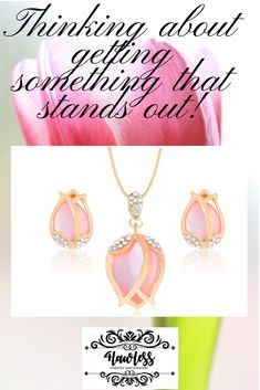Beautiful tulip design necklace and earrings set. Earring Set, Tulips, Fashion Accessories, Jewellery, Bracelets, Board, Flowers, Shopping, Beautiful