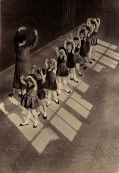 ...Dance Lesson. Unknown Photographer. | dancing | children | old school | sun light | rays | ballet | sepia |