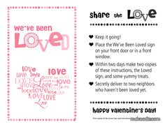 You've Been Loved - Free Printable for Neighbor Treats