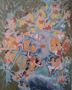 Art Kind-Hearted Radha Krishna Painting Hindu Religion Miniature Art In Kangra Painting On Paper Meticulous Dyeing Processes