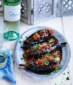 The food of Turkey is laden with spice, full of colour and bursting with flavour. Check out our top Turkish recipes here. Vegetarian Recipes Hearty, Vegetarian Cooking, Veggie Recipes, Wine Recipes, Gourmet Recipes, Cooking Recipes, Healthy Recipes, Imam Bayildi Recipe, Aussie Food