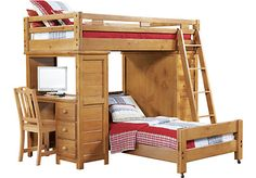 picture of Creekside Taffy Twin/Twin Student Loft Bed w/Desk with Chest from Bunk/Loft Beds Furniture