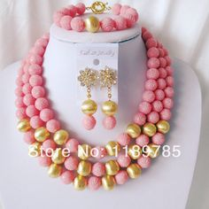 Fashion Nigerian African Wedding Beads Jewelry Set ,Artificial Coral  Necklace Bracelet Earrings Set A-2055