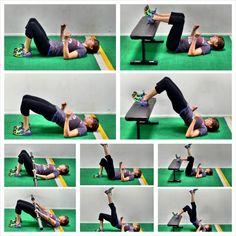 20 glute bridge variations including the basic glute bridge, the weighted glute bridge, hip thrusters, camel, thoracic bridge, posterior plank, table top bridge, single leg glute bridge, suspension trainer glute bridge, mini band bridge...all great moves to strengthen and tone your glutes and alleviate low back, hip and knee pain!