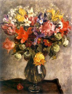 Józef Pankiewicz (1866 - 1940) - Flowers in a glass vase, 1925