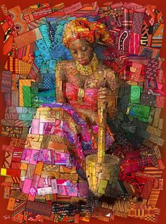 "Afrikan brick Art – by Charis Tsevis | urban-magazine - The Pap lady 41.0"" x 55.3"", Digital print (7 colors + white with UV layer) on wood. High resolution version here."