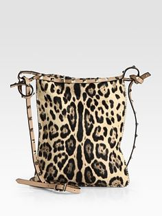 Valentino Rockstud Leopard Hair Calf Crossbody Bag