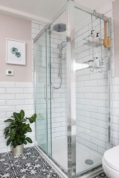 Bathroom makeover with patterned floor tiles and blush walls Bathroom-makeover-patterned-floor-blush Blush Bathroom, Bathroom Wall Colors, Pink Bathroom Tiles, Bathroom Interior, Modern Bathroom, Family Bathroom, Modern Room, Bungalow Bathroom, Big Bathrooms