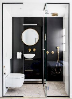 Black framed shower is dramatic and chic # shower room - Badezimmer Ideen - Small Bathroom Renovations, Bathroom Trends, Bathroom Ideas, Shower Bathroom, Bathroom Small, Bathroom Taps, Bathroom Black, White Bathrooms, Spa Shower