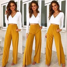 Better together ~ Versailles Top & Ocean Eyes Pants 💖 Back in stock just for you girls xx Denim Dungarees Outfit, Pants Outfit, Pretty Outfits, Fall Outfits, Outfit Vestidos, Mustard Pants, Mura Boutique, Professional Attire, Online Fashion Boutique