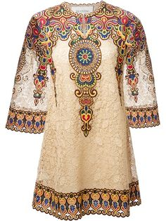 VALENTINO Embroidered Floral Lace Tunic Dress