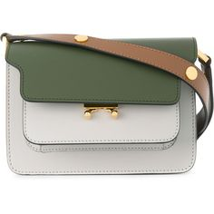 Marni small Trunk shoulder bag (104.630 RUB) ❤ liked on Polyvore featuring bags, handbags, shoulder bags, green, shoulder strap handbags, leather shoulder handbags, structured leather handbags, shoulder strap bags and leather purses
