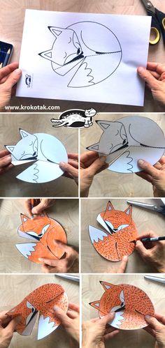 Animal Crafts For Kids, Paper Crafts For Kids, Preschool Crafts, Art For Kids, Arts And Crafts, Fall Art Projects, Projects For Kids, Fox Crafts, Nature Crafts