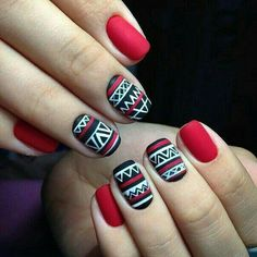 ~ ♥ nails, red, and black image ♥ ~