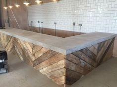 The Academy Espresso Bar - Floored Genius Poured Concrete Counters, Concrete Bar Top, Bar Countertops, Wood Bar Top, Wood Bar Table, Wood Bar Stools, Polished Concrete, Wooden Bar, Espresso Bar