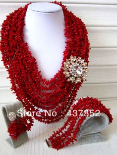 Rhinestone Flower African Nigerian Wedding Red Coral Beads Jewelry Set Bridal Necklace Bracelet Clip Earrings CWS-107 $88.21