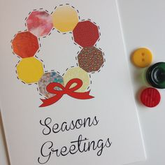 Red & Yellow Christmas Wreath Patterned Christmas Card - pinned by pin4etsy.com