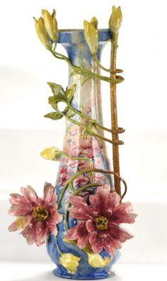 Majolica Barbotine Trompe L'Oiel Flower and Bud Vase