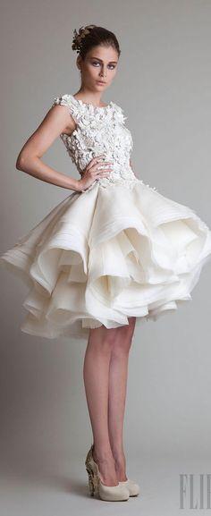 Stylish Short Wedding Dress with handkerchief bottom