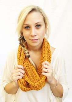 Gold CIRCLE SCARF  Long Infinity Eternity Loop by theyarnival, $27.00