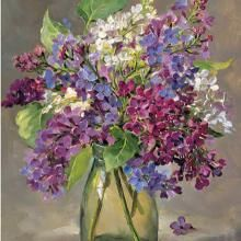 Lilac in a Glass Jam Jar by Anne Cotterill ~ published as a Greetings Card by Mill House Fine Art . Acrylic Flowers, Watercolor Flowers, Watercolor Art, Art Floral, Lilac Painting, Still Life Art, Painting Inspiration, Art Pictures, Flower Art