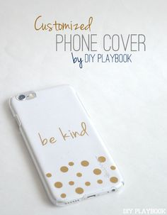 Add gold stickers to a piece of scrapbook paper for a customized phone cover! Such an easy DIY project.