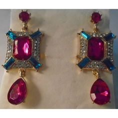 new Long Square Dangle Earrings, multi color-shape stones Listing in the Earrings,Costume Jewelry,Jewelry & Watches Category on eBid United States | 150269940