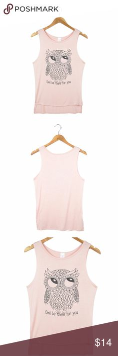 Women's Owl Print Tank Top Trendy tank top with owl print in the front.  -95% Rayon/5% Spandex -Brand new tank top; No damage or blemishes -Authentic fit; True to size; Stretchable Fabric -Hand wash cold; Hang or line dry; No bleach -Made in USA  Length: (shoulder to base); Bust: (arm pit to arm pit)  Length: 26 inch, Bust: 16.5 inch  Color: Peach  Style# TNFT-2105 Tops Tank Tops