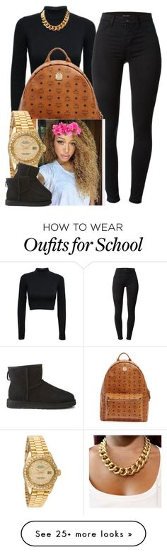"""School ✨"" by newtrillvibes on Polyvore featuring J Brand, MCM, Rolex, UGG Australia, women's clothing, women, female, woman, misses and juniors"