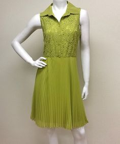Look what I found on #zulily! Yellow Pleated Sleeveless Shirt Dress #zulilyfinds