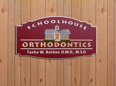 Orthodontics Dental Office Sign -  Carved & gilded letters & a hand-sculpted & painted schoolhouse. Se more of our work here: www.danthoniadesigns.com