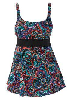 Swimsuit, skirted style in mosaic print with empire waist by Swim 365® | Plus Size Swim Dresses | Woman Within