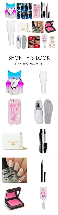 """Rainbow And White"" by jaden-norman ❤ liked on Polyvore featuring Topshop, Casetify, Vans, Chanel, Lancôme, Marc Jacobs, Jouer and Accessorize"
