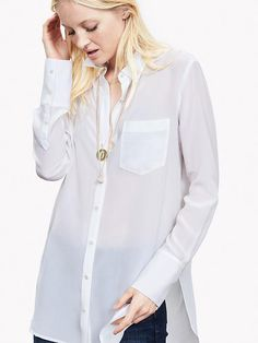 11641503723f White Silk High Low Blouse Product Image