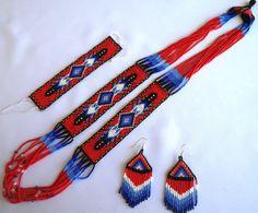 Huichol Beaded Necklace Bracelet and Earrings set by Aramara