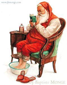 Christmas Scenes, Noel Christmas, Father Christmas, Vintage Christmas Cards, Christmas Pictures, Vintage Cards, Illustration Noel, Christmas Illustration, Santas Vintage