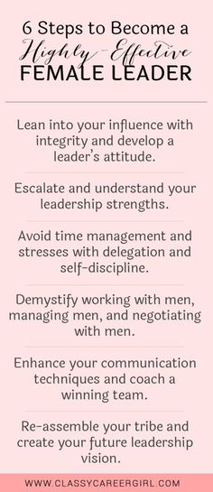 Career infographic : 6 Steps to Become a Highly-Effective Female Leader list