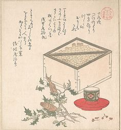 Green Peas in a Measure and Sprays of Hollyhock with Heads of Sardines; Symbols Representing the Ceremony of Exorcising Demons  Kubo Shunman  (Japanese, 1757–1820)  Period: Edo period (1615–1868) Date: 19th century Culture: Japan Medium: Polychrome woodblock print (surimono); ink and color on paper