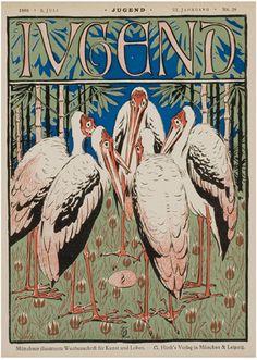 9. Juli 1898 - JUGEND (YOUTH) Münchner illustrierte Wochenschrift für Kunst und Leben  (Munich illustrated weekly magazine of art and life) - Titelblatt von Otto Eckmann  (cover by Otto Eckmann)