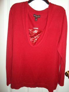 Dana Buchman Red Sequin Mock Blouse Drape Neck Tunic Sweater Xs S 0X 1X 2X 3X