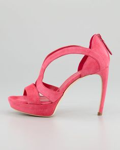 Alexander McQueen Low-Heel Double-Arched Suede Sandal, Pop Pink...Love