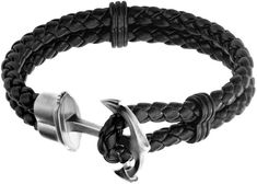 FINE JEWELRY Inox Jewelry Mens Stainless Steel Anchor & Leather Bracelet
