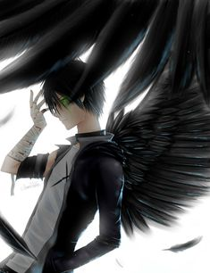 Anime guy with black wings Pictures, Images and Photos