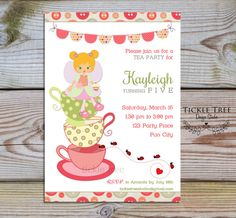 Personalized Birthday Invitation PRINTABLE DIGITAL FILE - It's Time for a Tea Party (Style 13428)